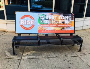 Nashville bus bench for Rise Biscuits